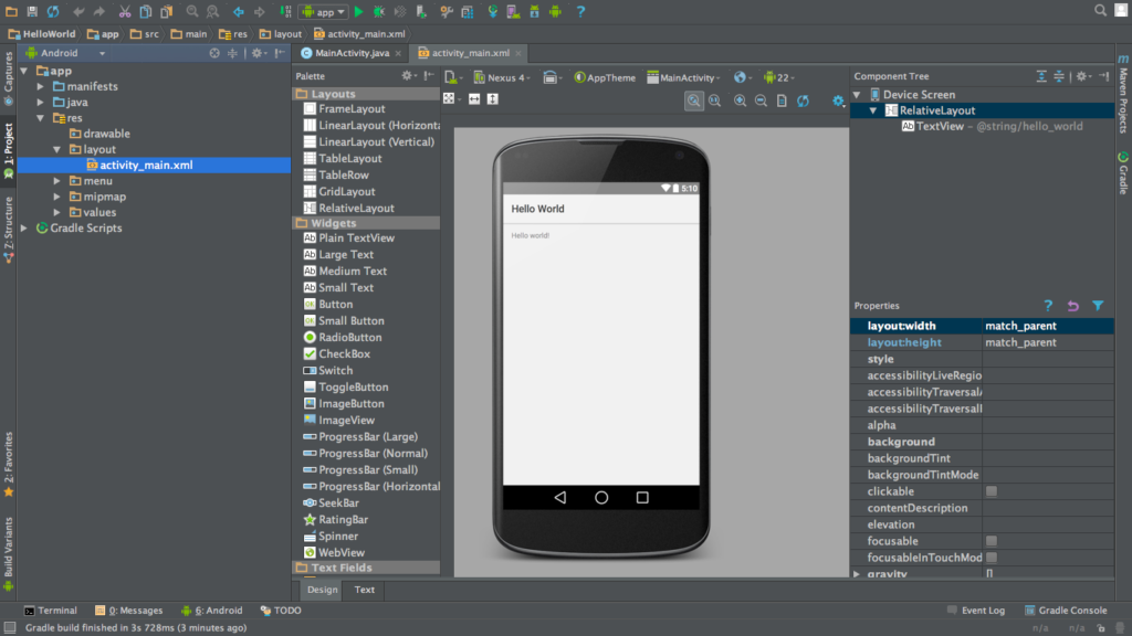 An example android studio page, as was used for building Freedoom for Android