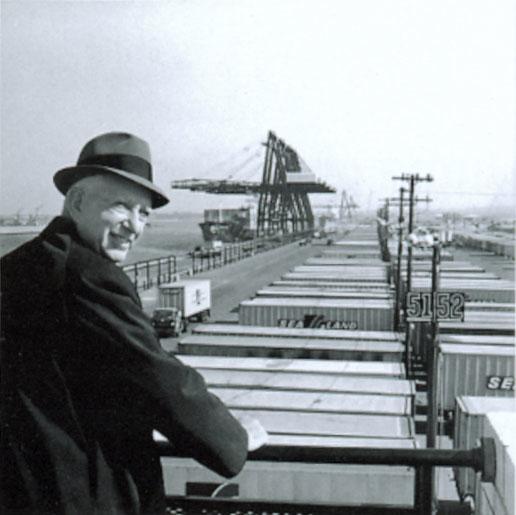 Malcolm McLean at railing
