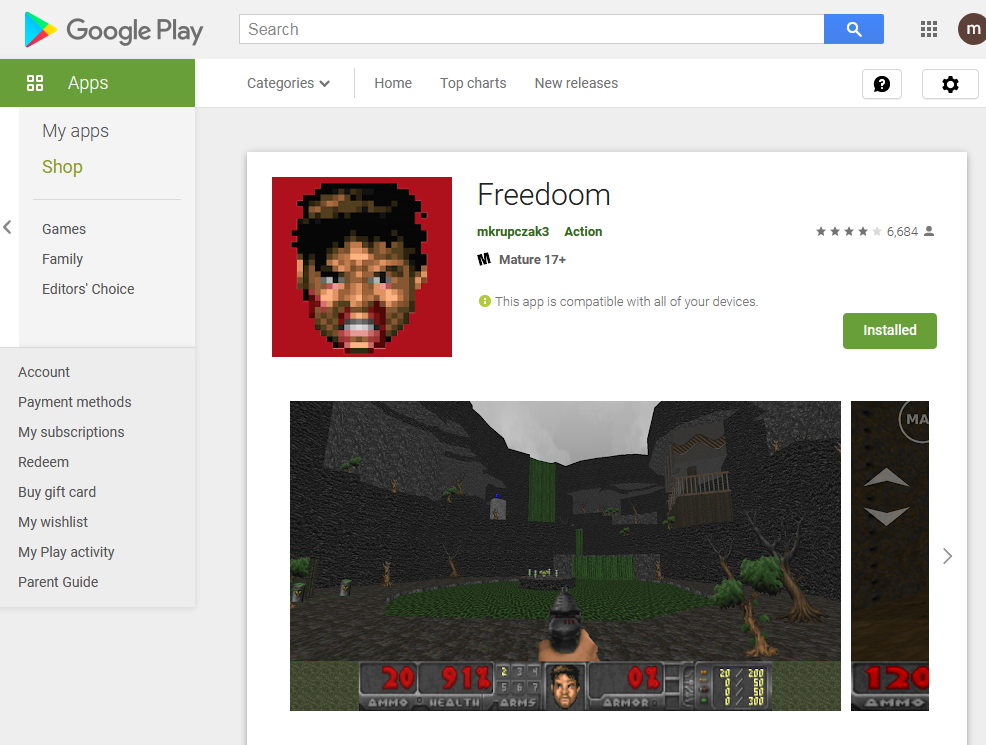 Freedoom for Android as it appears on the Google Play store