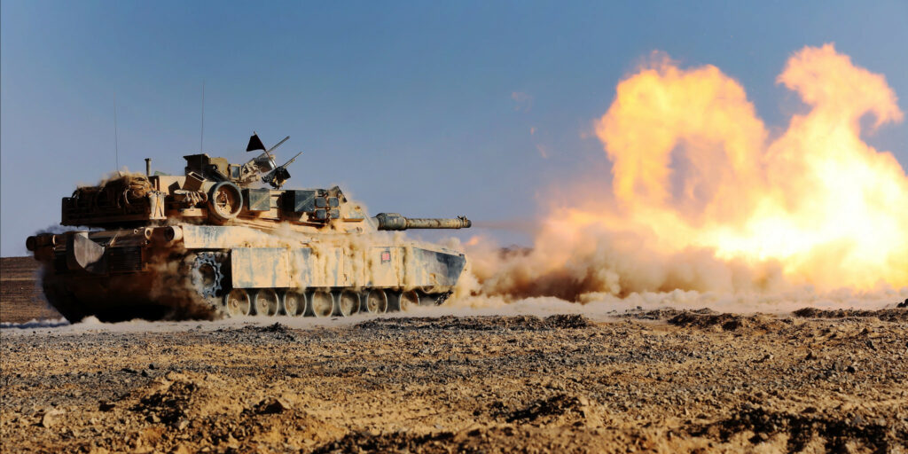 M1 Abrams tank firing