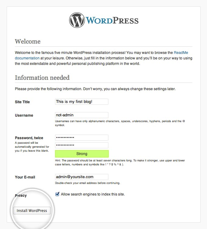 WordPress (without https) running in a Docker container showing setup page