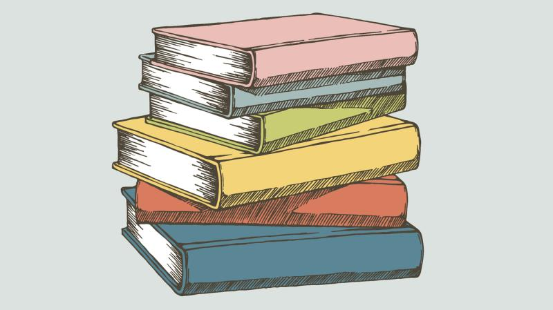 Book Club clip art books stacked on top of each other