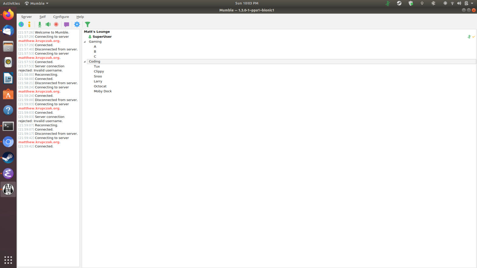 Screenshot of Mumble GUI