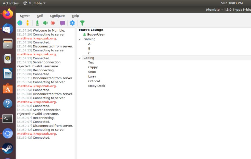 Screenshot of Mumble GUI