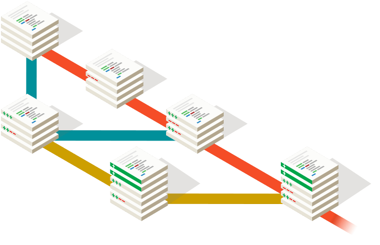 Git abstract graphic showing branch and merge