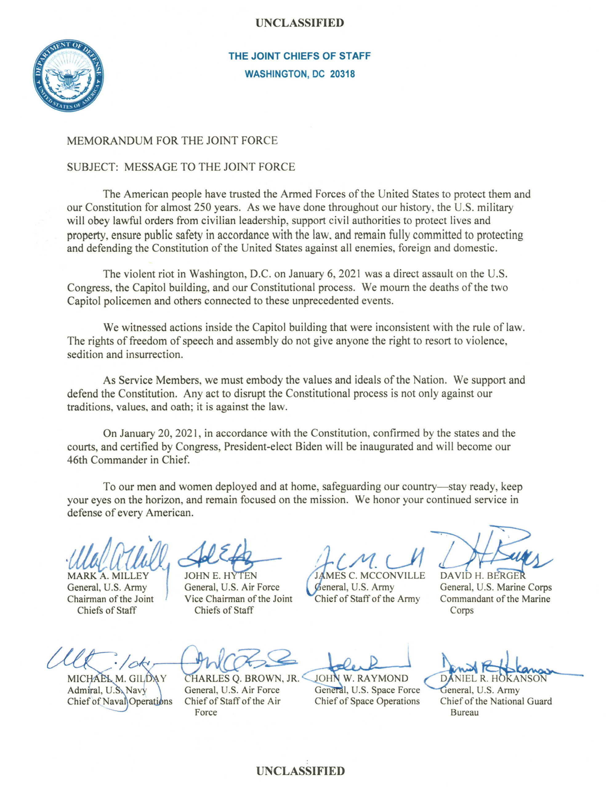 Letter from Joint Chiefs of Staff, US Military
