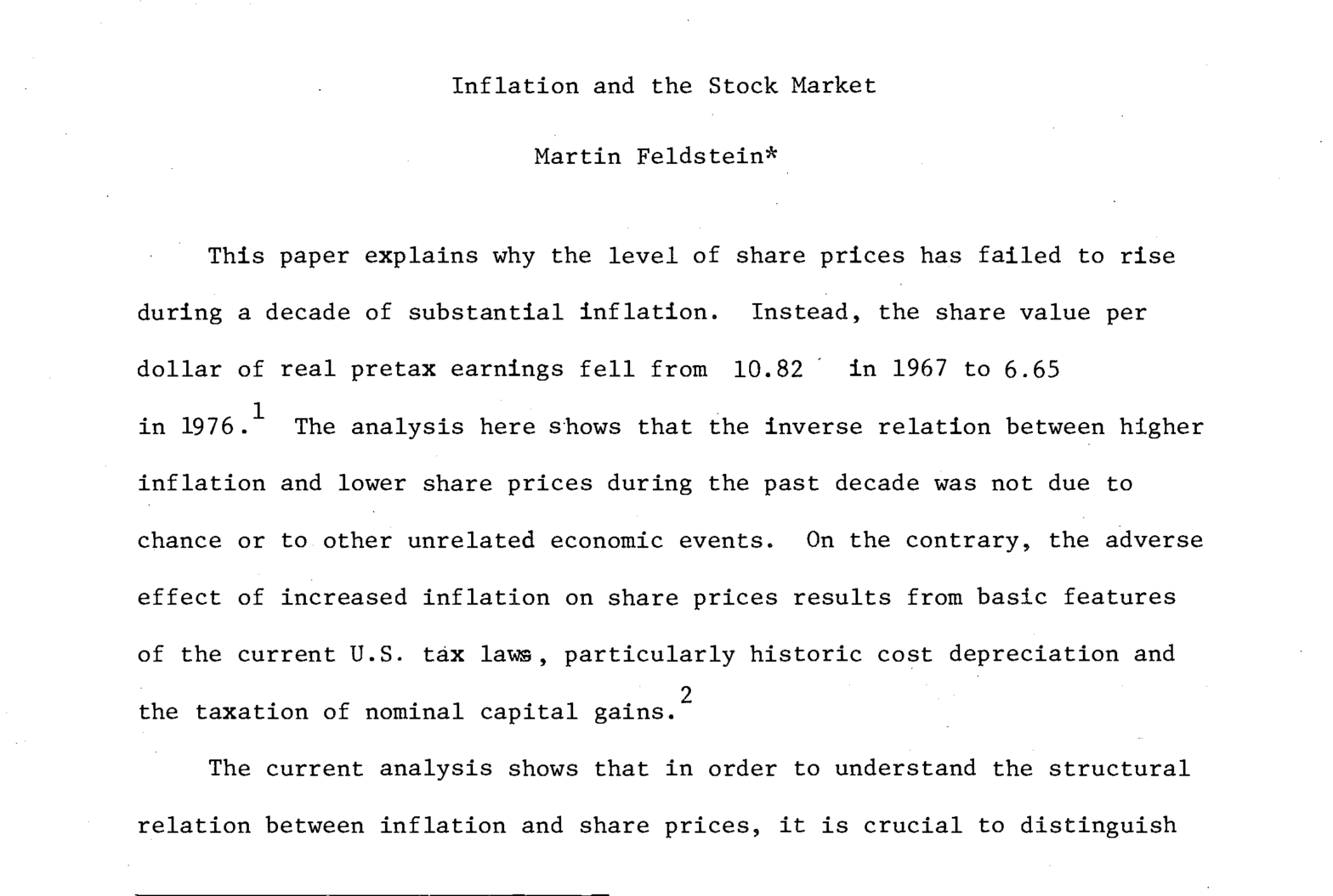 Inflation and the Stock Market 1978 Cover