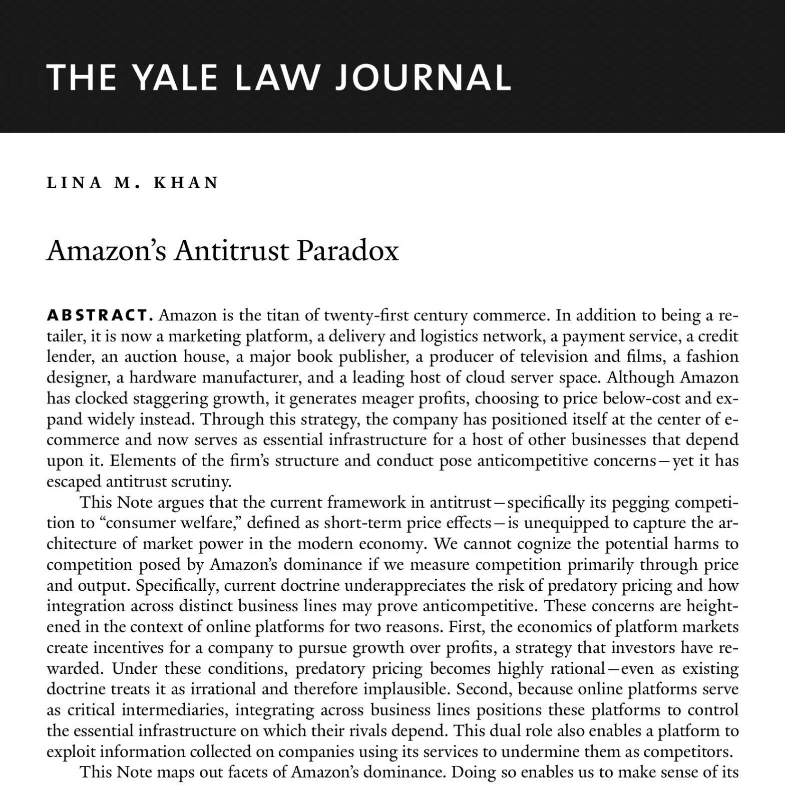 Lina Khan Yale Law Journal Amazon Antitrust Paradox