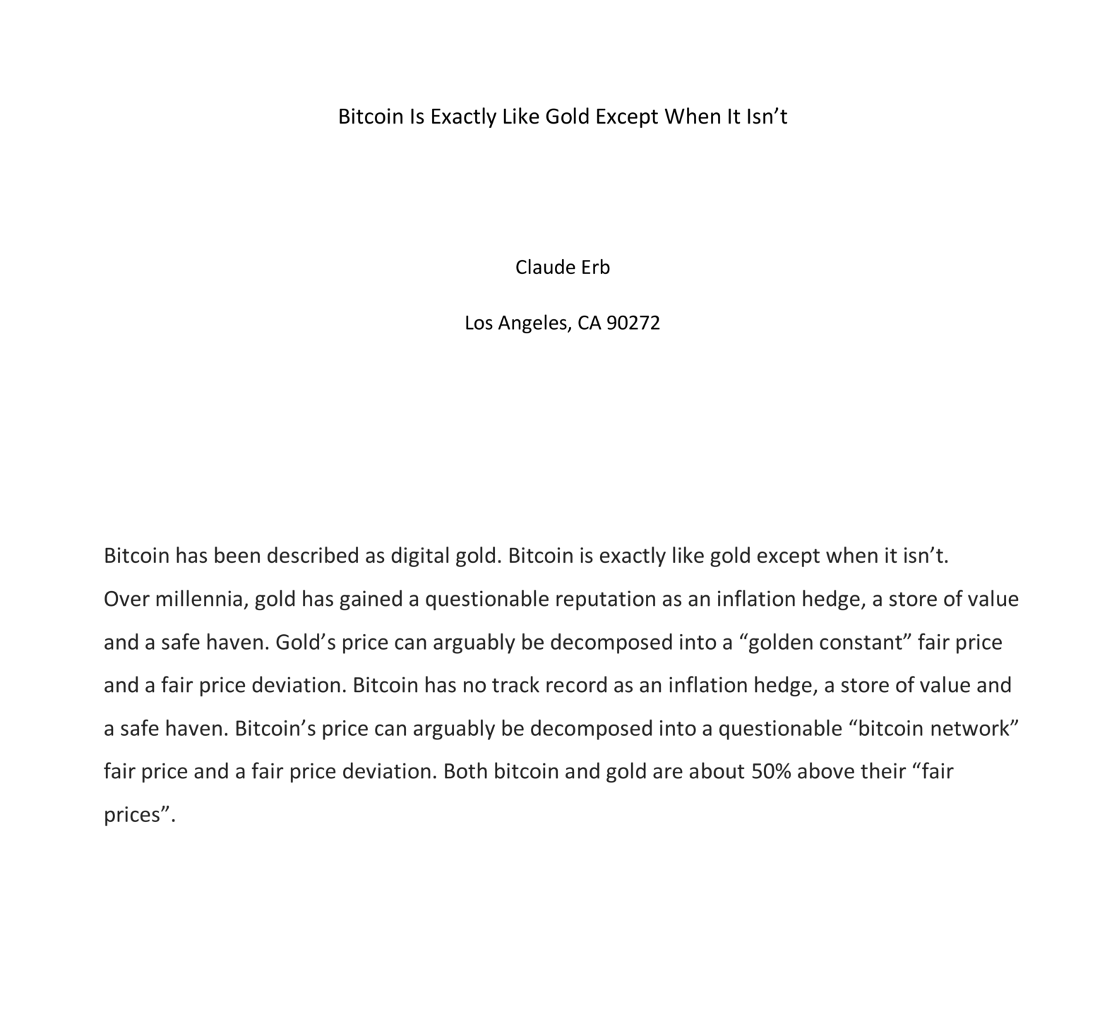 Front page of paper Bitcoin is Exactly Like Gold Except When It Isn't SSRN ID 3746997